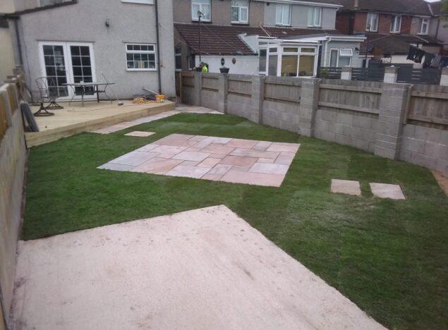 New lawn and patio slabbing bridgend
